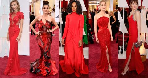 2015 Oscars women in red