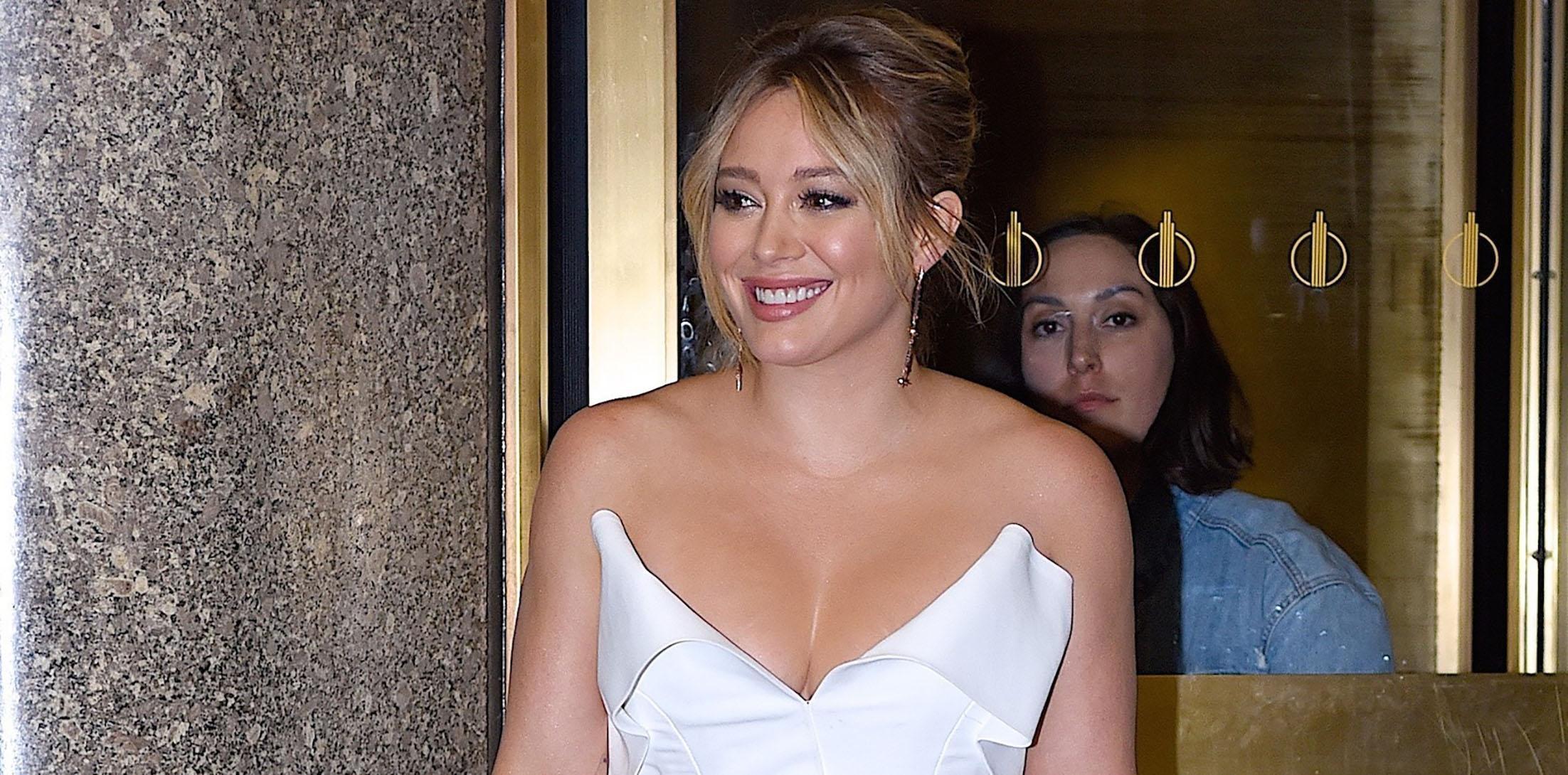 Hilary Duff goes all white for dinner at Nobu