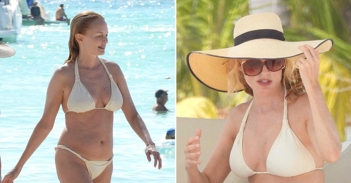 heather graham hits the beach in a white bikini pf