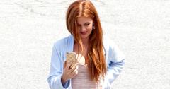 *EXCLUSIVE* Isla Fisher shows off her Post Baby Body on set