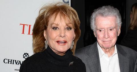 Barbara Walters Weraing Black next to Photo of Regis Philbin in Suit
