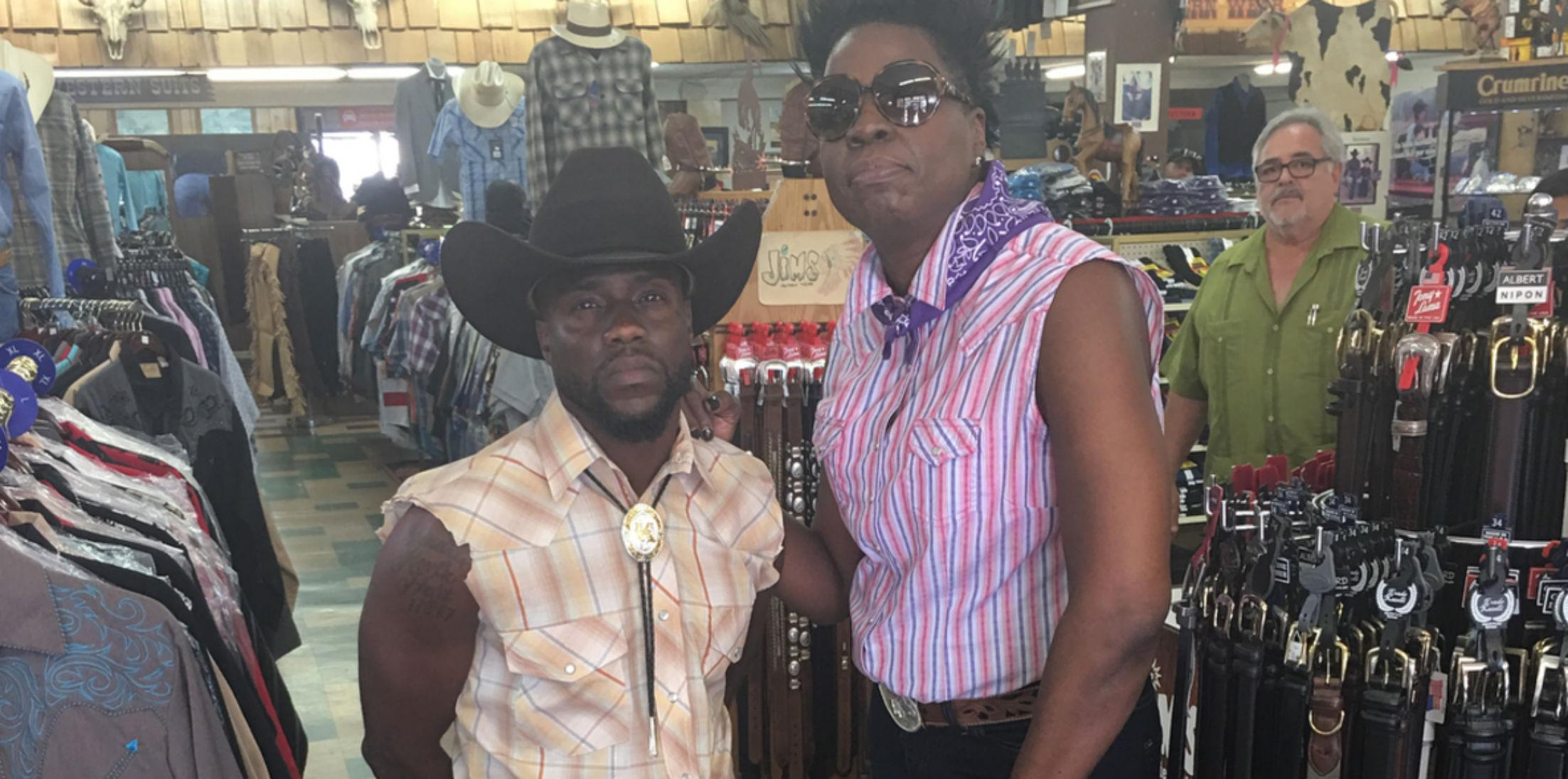 Kevin Hart And Leslie Jones Cowboy Clothes Photos hero