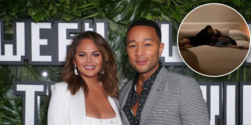 Chrissy Teigen & John Legend Get Comfy Inside Kris Jenner's Bed