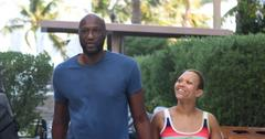 Lamar Odom And Sabrina Parr Walking In Miami Engagement