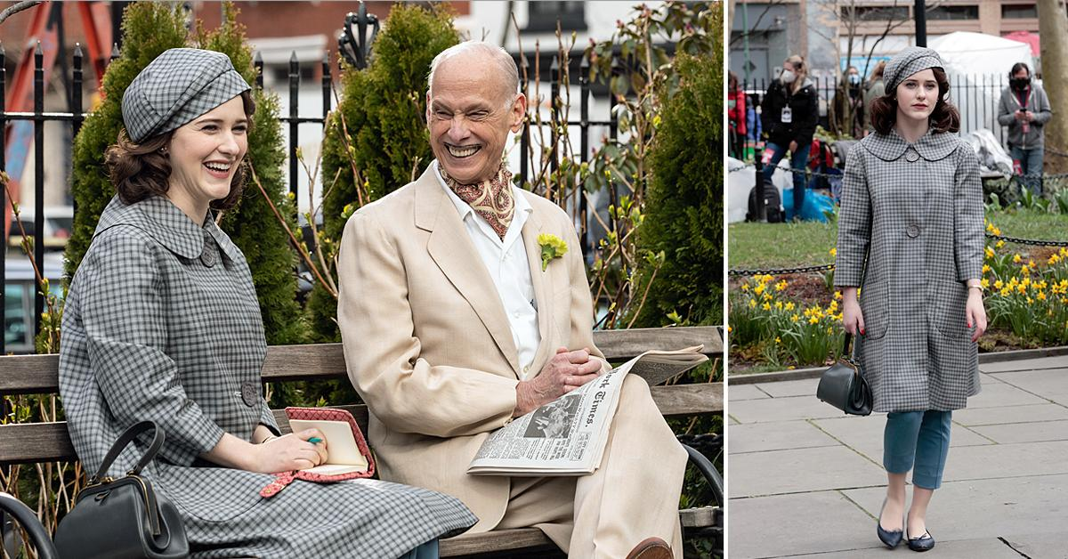 rachel brosnahan and john waters filming the marvelous mrs maisel