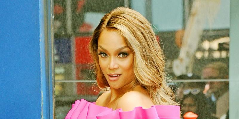 Tyra Banks Wearing a Pink Dress