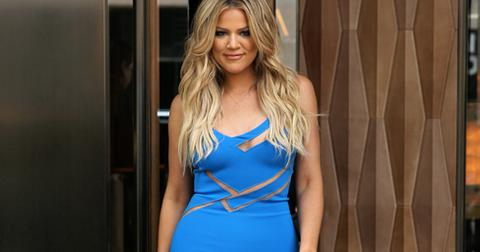 TV personality Khloe Kardashian, wearing a blue cut out dress, leaves the Trump Soho Hotel for Book Con in New York City, NY on May 31, 2015