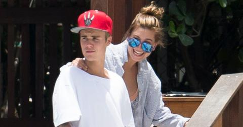 Justin Bieber and Hailey Baldwin hang out at the pool together in Miami.