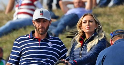 Dustin Johnson and Paulin Gretzky at the Ryder Cup