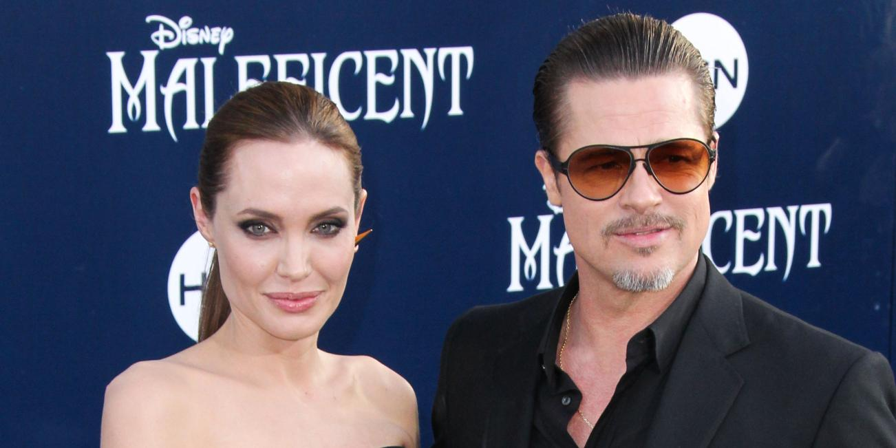 Angelina Jolie and Brad Pitt at the premiere of Maleficent.