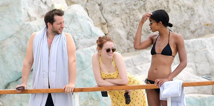 Justin theroux laura harrier emma stone sienna miller vacation south of france pics