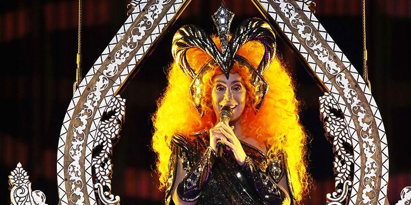 Cher metallic bustier bold headpiece melbourne tour main