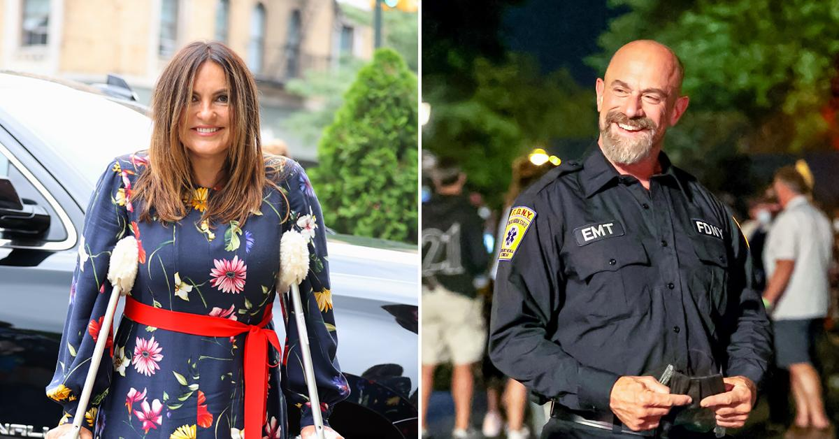 mariska hargitay on crutches filming law and order svu with christopher meloni ok