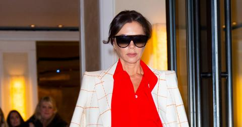 Victoria Beckham departs her hotel in white and red in New York