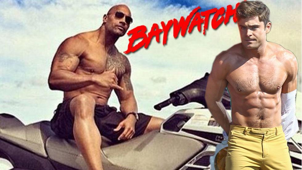 Zac efron swayne the rock johnson baywatch movie