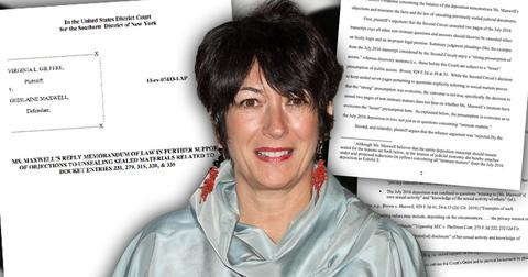 Ghislaine Maxwell, insets of Judgement to unseal sex life documents Jeffrey Epstein