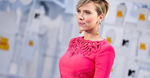 Scarlett Johansson attends the 2015 MTV Movie Awards in Los Angeles