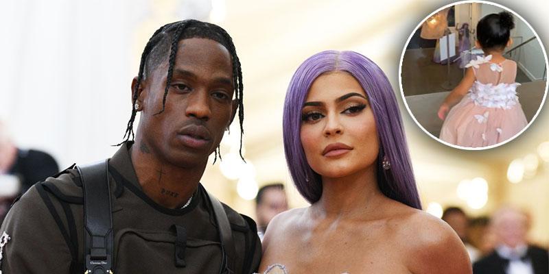 Kylie Jenner & Travis Scott Reunite For Stormi's Makeup Launch Party