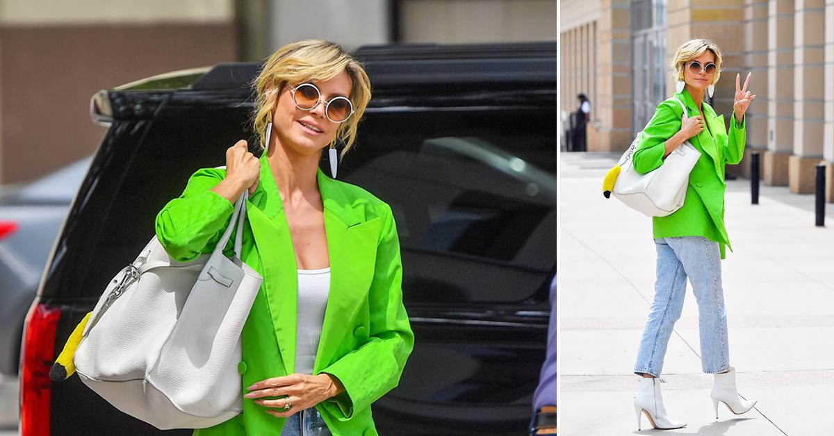 heidi klum arrives at agt in bright green blazer okf