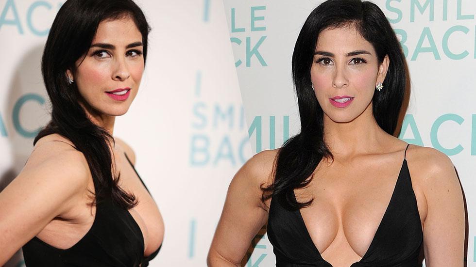 Sarah silverman cleavage black dress