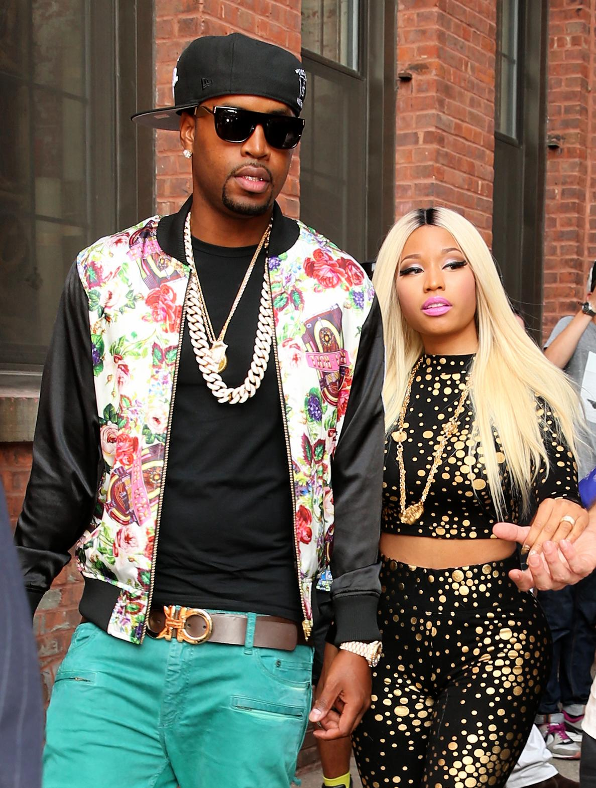 Singer Nicki Minaj leaves the Jeremy Scott fashion show with Safaree ¿Scaff Beezy¿ Samuels at Milk Studios in New York City