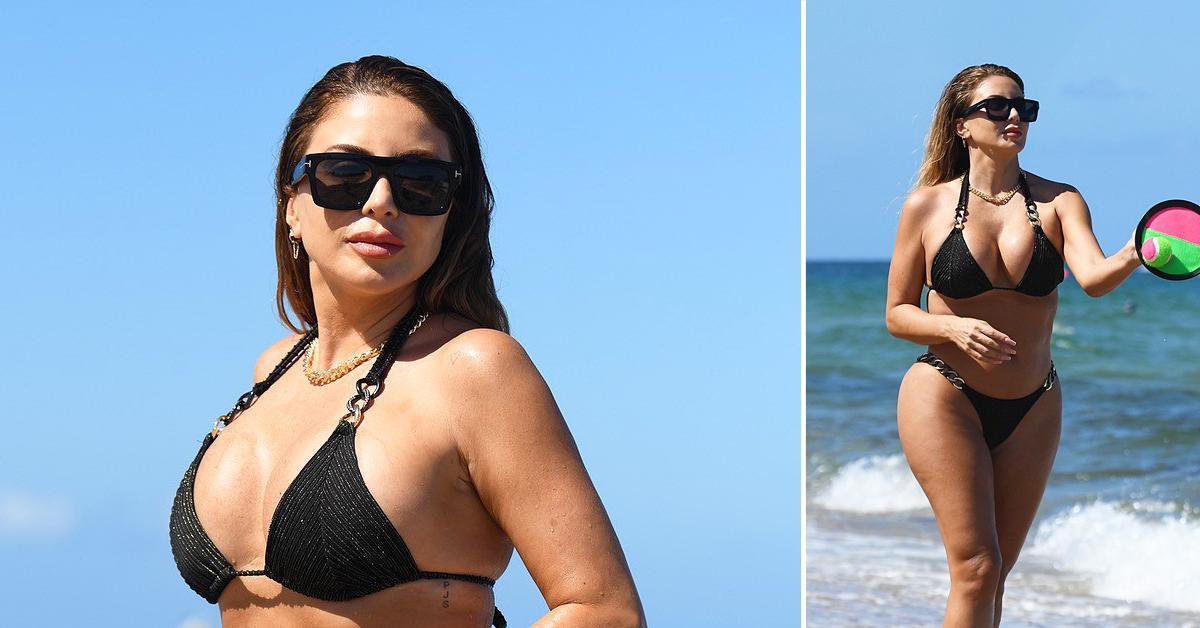 larsa pippen wears a black bikini as she hits the beach in miami