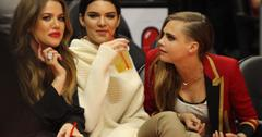 Khloe Kardashian, Cara Delevingne and Kendall Jenner at the Clippers game