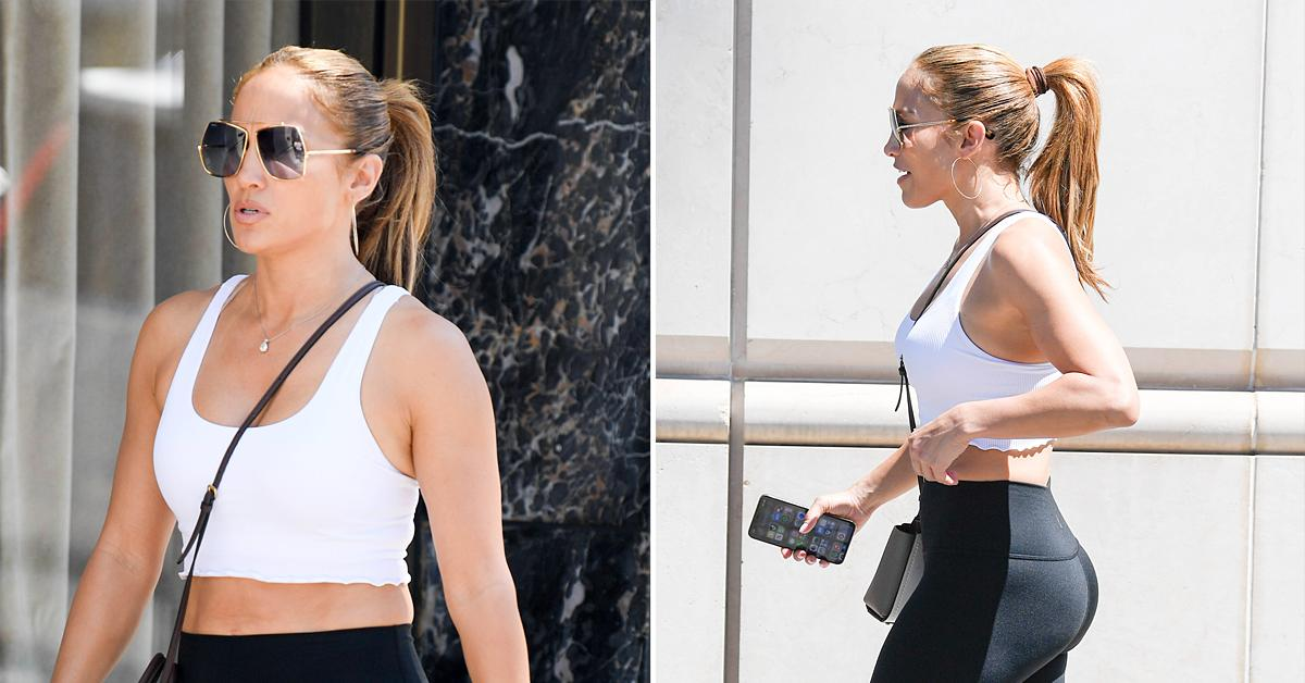 jennifer lopez heads out shopping workout clothes ok