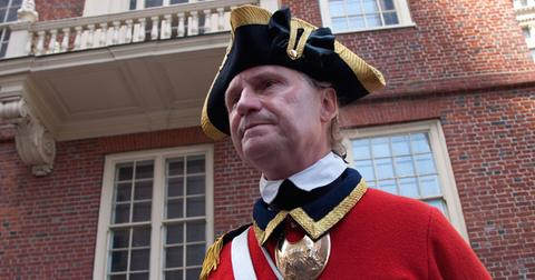 Historical reenactor docent at site of March 5, 1770 Boston Massacre