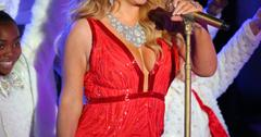 Mariah Carey looks ravishing in red at the Rockefeller Center Christmas Tree lighting event