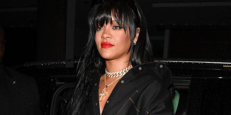 Rihanna Jumpsuit Red Lips Covers Stomach Paris Pregnancy Rumors