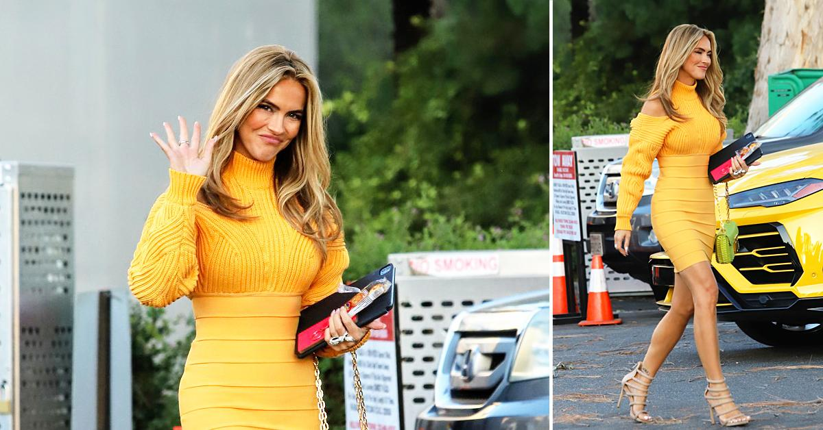 chrishell stause is little miss sunshine in golden sweater dress after a long day selling sunset ok