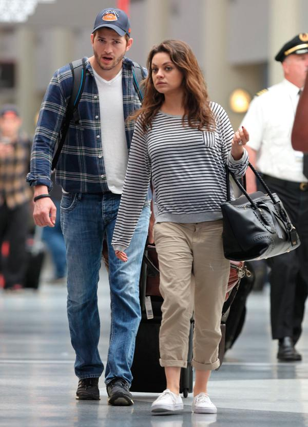 Exclusive… Pregnant Mila Kunis _ Ashton Kutcher Departing On A Flight In New Orleans