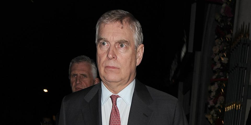 Prince Andrew leaves Park Chinois restaurant in Mayfair