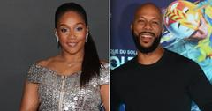 Left, Tiffany Haddish in Silver soparkle Dress, Right Common in Crew-neck Sweater