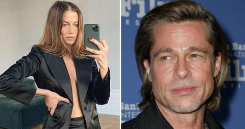 brad pitt ex girlfriend flaunts stomach postpic