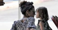 *EXCLUSIVE* Eva Mendes dines out with her daughter at Little Dom's