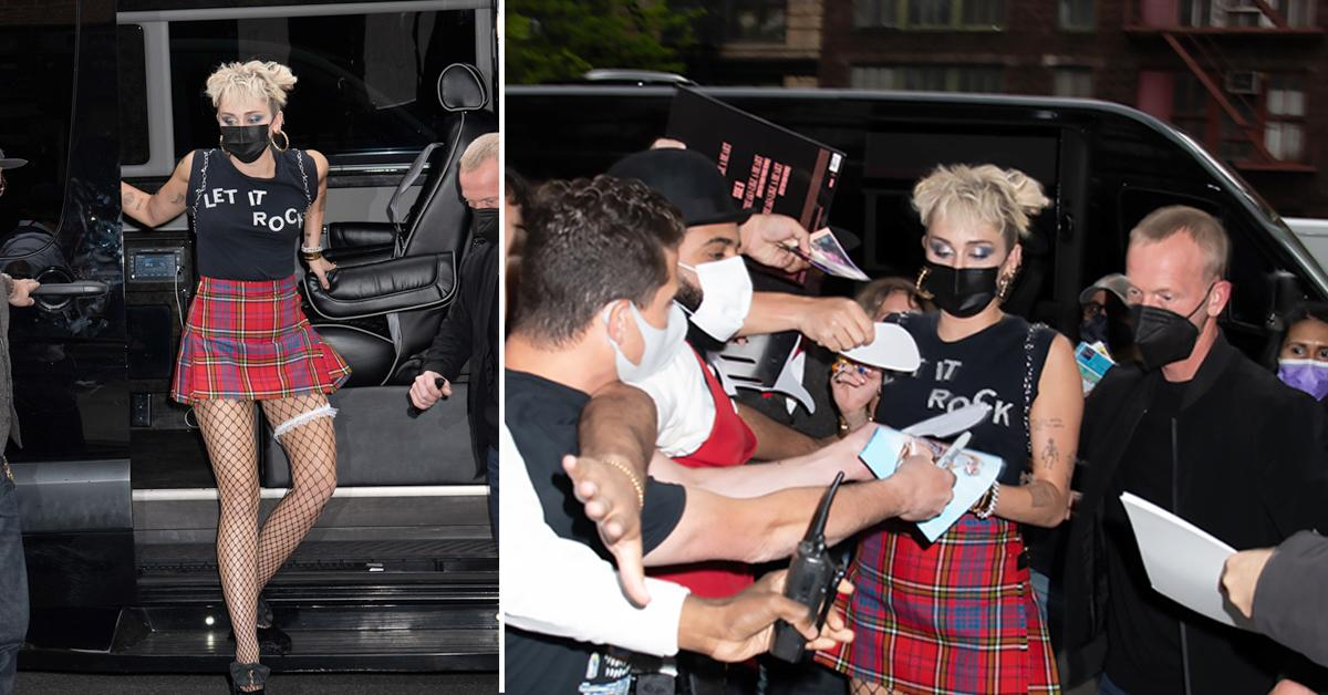 miley cyrus mobbed by fans as she returns to hotel in nyc