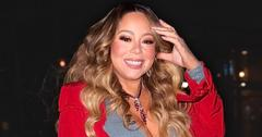 Smiling Mariah Carey Wearing Red Coat