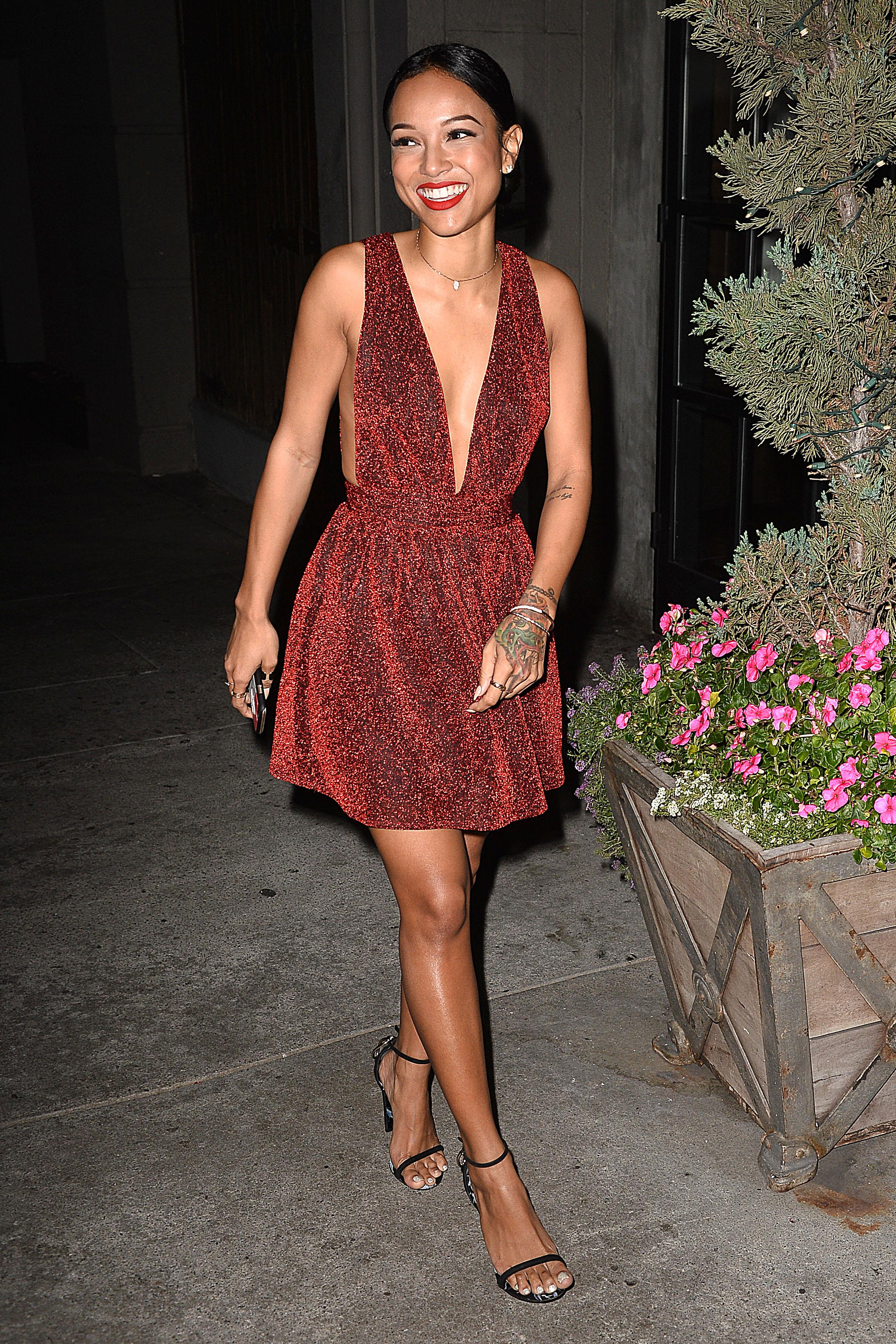Karrueche Tran seen heading to dinner at Aventine in Hollywood, CA