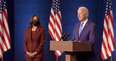Kamala Harris and Joe Biden speaking from the Chase Center in Wilmington