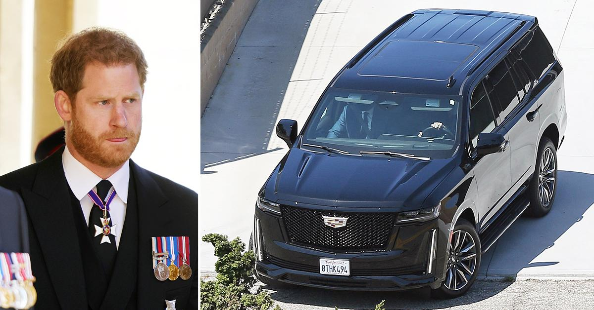 prince harry car leaving lax executive suite ok
