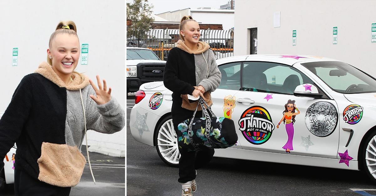 jojo siwa makes an entrance with her j nation car