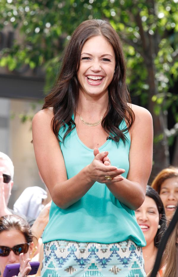 'Bachelorette' 2013 Desiree Hartsock on 'Extra!' at The Grove in West Hollywood, California