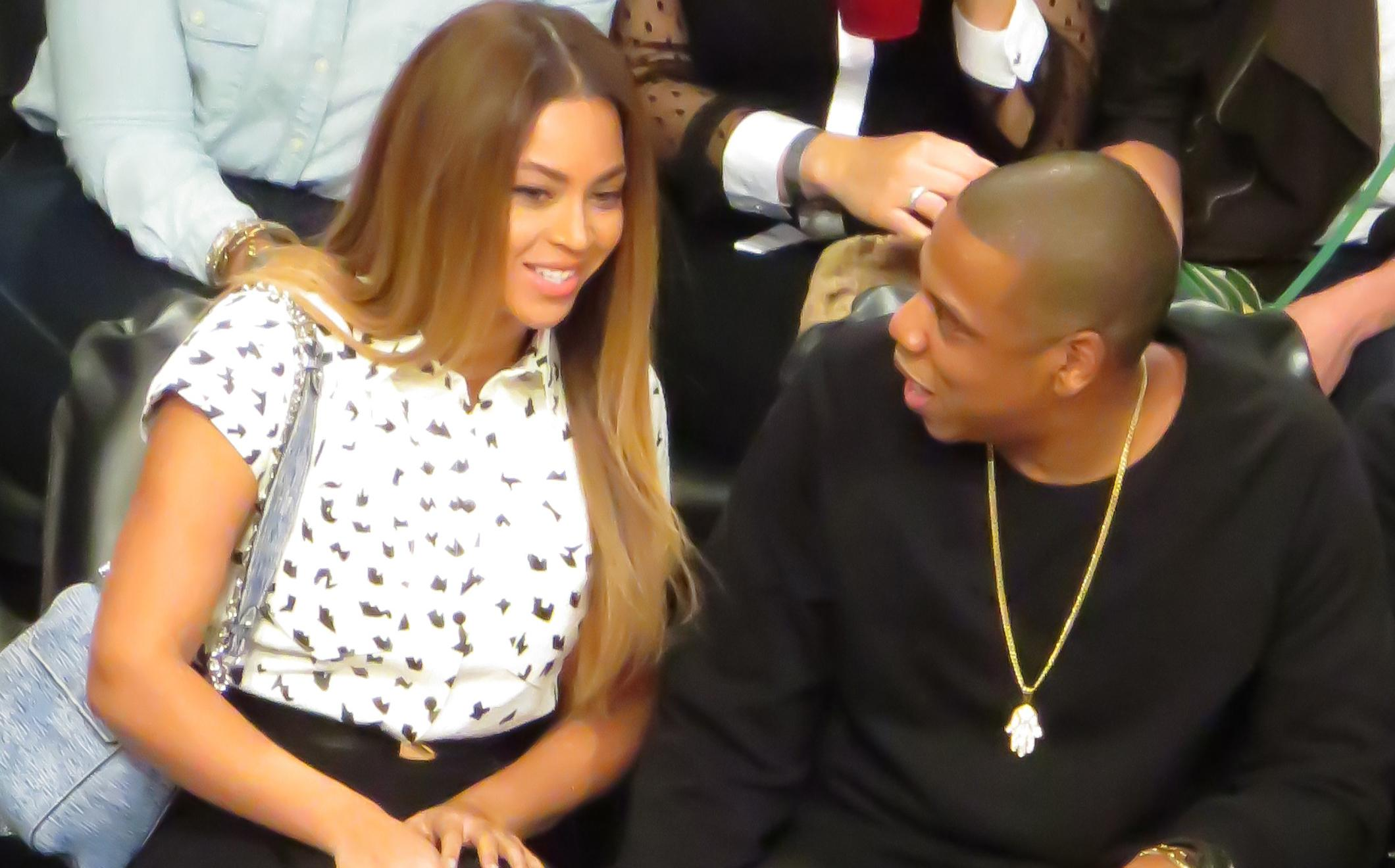 Beyonce and husband Jay Z watch the Cleveland Cavaliers against the Brooklyn Nets at the Barclays Center