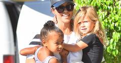 Kourtney Kardashian carries North and Penelope to dance class