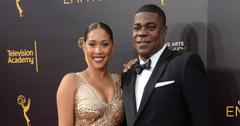 Megan Wollover wearing Gold Sequined Dress With Husband Tracy Morgan In Black Tux