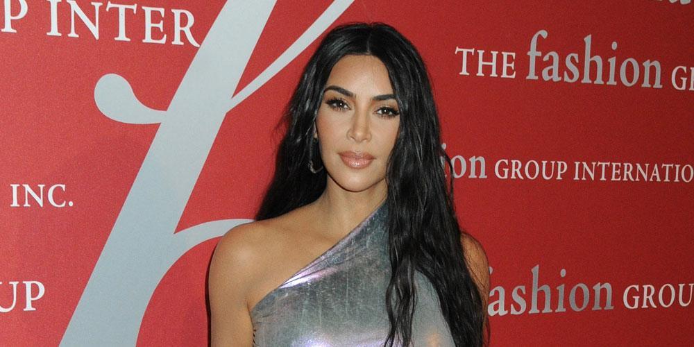 Kim Kardashian Wearing Silver Dress