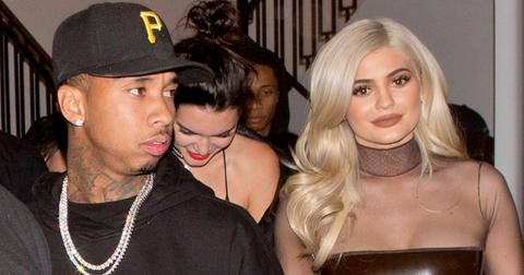 Kylie Jenner, sister Kendall and boyfriend Tyga were seen leaving a friends birthday party at 'Catch' in West Hollywood, CA