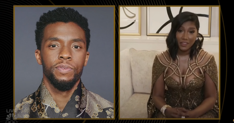 chadwick boseman wife simone ledward golden globes  acceptance speech ma raineys black bottom